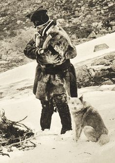 Bear Island Hunter • Sami man and a dog in Sweden first part of 1900