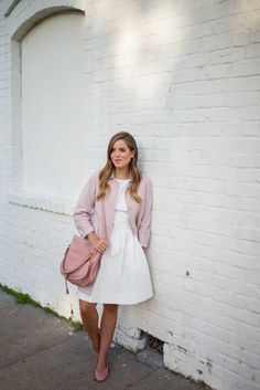 White dress, pink coat, bag and Chanel flats