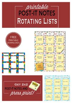free rotating post it lists
