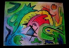 Kandinsky lines with india ink and watercolor