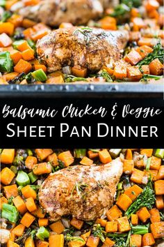 This super easy recipe for my Balsamic Chicken and Veggie Sheet Pan Dinner comes together with minutes of prep and very little cleanup! You can also vary the veggies based on seasonal cooking because the balsamic goes so well with most any vegetable. It's a healthy dinner that's also great packed as leftovers for lunch. It's paleo, dairy free, gluten free, and clean eating as well. #sheetpandinner #glutenfree #sheetpansupper Easy Paleo Dinner Recipes, Dairy Free Recipes, Clean Eating Recipes, Whole Food Recipes, Easy Meals, Gluten Free, Healthy Recipes, Sheet Pan Suppers, Paleo Dairy