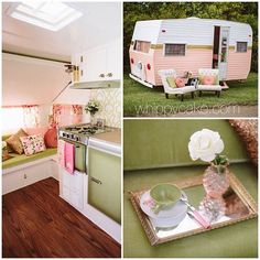 "Fix up an old trailer to turn it into a ""Glamper"" -LOVE this one in particular!!"