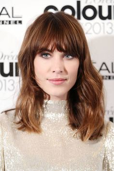 Famous Actress Alexa Chung Wearing Her Brunette,Cool-Girl,Ombre-Layered Styled Hairdo.