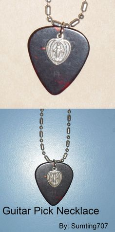 DIY Guitar Pick Necklace:  1. Heat a saftey pin over a candle and burn a hole in the top of a guitar pick.  2. Add a Jump ring, and a charm  3. Attach to a chain!