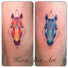 Matching geometric horse head tattoos by @katiebeeart!
