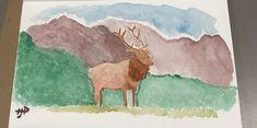 Watercolor Mountain Elk