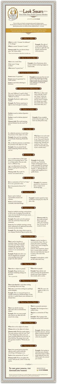 """These are really simple, but """"fewer v less"""" is a pet peeve, so...Infographic: Simple writing mistakes explained"""