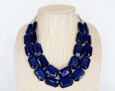 Check out our statement necklace selection for the very best in unique or custom, handmade pieces from our shops. Sapphire Necklace, Beaded Necklace, Blue Sapphire, Gems, Chunky Necklaces, Jewelry, Gold, Fishing, Jewerly