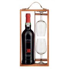 1 Garrafa de Vinho do Porto BORGES COROA + 2 cálices