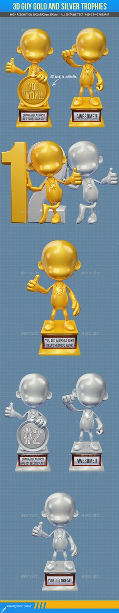 Item for sale at #graphicriver 3D guy trophies pack in gold and silver. Editable text. Based on high resolution renders 3000×3000 px 300 dpi. Includes 2 layered PSD files and 8 PNG files with transparent background. #3d #trophies #awards #gold #golden #silver #guy #achievement #medal #trophy #render #winner #cartoon