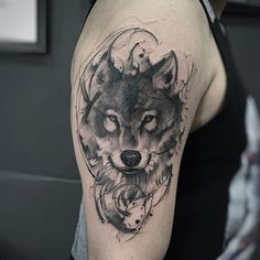 70 Majestic Wolf Tattoos For True Free Spirits Wolf Tattoos, Animal Tattoos, Black Tattoos, Wolf Face Tattoo, Tatoos, Small Tattoos, Wolf Tattoo Design, Wolf Tattoo Sleeve, Sleeve Tattoos