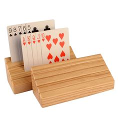 Solid Beechwood Wooden Playing Card Holder - Set of 2