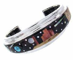 Genuine Sterling Silver Native American Mesa Design Multicolor Bracelet IS63256 SilverTribe. $791.99