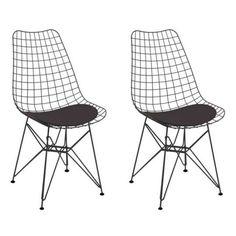 Conjunto 2 Cadeiras De Cozinha CM0006 Pintada Preta Corano Preto