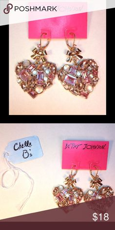 Selling this BETSEY JOHNSON pink heart drop earrings in my Poshmark closet! My…