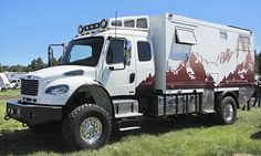 """Global Expedition Vehicles This 2010 Freightliner began as a 2WD model with a 300"""" wheelbase. The team converted it to 4WD, took the wheelbase down to a more manageable 230"""", converted it to be nearly bulletproof, the bodywork is an insulated 2.5"""" composite sandwich of many marine-grade components, the windows are made of thick dual-pane construction & stainless-steel hardware. The most extreme & luxurious lifting roof model, the Patagonia, sells for more than $500,000."""