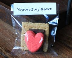 Valentine Smores - Peeps Heart Marshmallow + Chocolate Square + Graham Cracker.