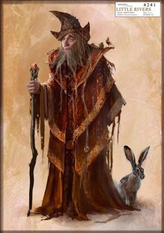 "Concept artwork by Andrew Baker of Radagast the Brown with Rhosgobel rabbit from ""The Hobbit: An Unexpected Journey"" (2012).  Radagast's final costume as completed for filming was far less symmetrical and more unkempt, emphasizing his disregard for personal appearance and his somewhat scatterbrained nature."