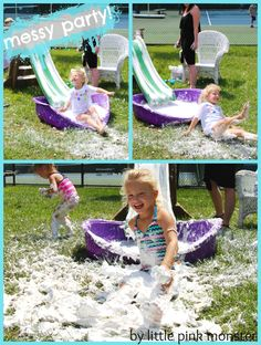 shaving cream slide for a messy birthday party! :: by little pink monster