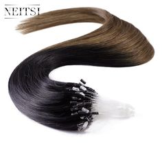 """Neitsi Micro Loop Ring Ombre Human Hair Extensions 100% Indian Virgin Remy Hair Staight  20"""" 1g/s 50g 100g T1/6# Ombre Soft Hair"""