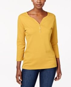 Karen Scott Cotton Henley Top, Created for Macy's - Purple XXL