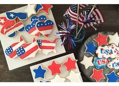 Cookies for England: Patriotic cookies Patriotic Sugar Cookies, Cut Out Cookies, Favorite Holiday, Fourth Of July, Clothes For Sale, England, Friends, Sweet, Desserts