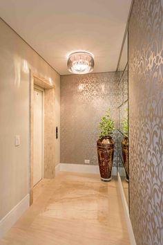 Ex. iluminação para hall de entrada - Plafon vidro + pingentes (iluminação central)