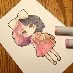 Chibi of Melanie Martinez in her dollhouse outfit. I absolutely love her songs!