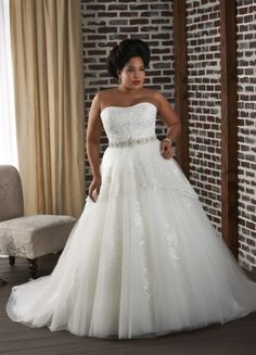 Graceful Tulle And Lace Ballgown Style Strapless Beaded Chapel Trian Plus Size Wedding Dress