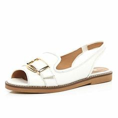 White buckle trim loafer sandals £28.00