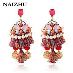 Fashion pendant vintage women earring pearl tassel drop earrings ethnic hand-made woven bohemian earring wholesale
