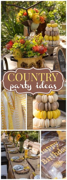 This 70th birthday celebration has a country vibe! See more party ideas at CatchMyParty.com!