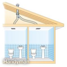 Use An In Line Fan To Vent Two Bathrooms Bathroom Exhaust