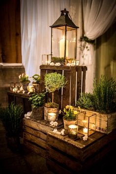 45 Rustic Wedding Decorations You Must Have A Look---We like the moody hue of crates, lantern candles, moss and mason jars for this country wedding, fall or winter wedding ideas. Wedding Trends, Fall Wedding, Rustic Wedding, Dream Wedding, Wedding Ideas, Church Wedding, Wedding Quotes, Forest Wedding, Wedding Season