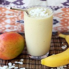 Coconut Mango Banana Smoothie – Gluten-free, Vegan + Refined Sugar-free. It is so sinfully good it is hard to believe how healthy it is. #foodgawker