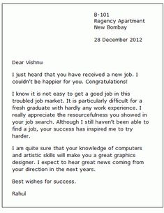 congratulations letter New Job Congratulation Letter - Here is a congratulations note . English Writing Skills, Writing Tips, Informal Letter Writing, New Job Congratulations, Effective Cover Letter, Letter Example, 2 Letter, Cover Letter Format, Business Letter Format