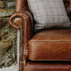 Tudor Leather Armchair with Chesterfield style button-back detail & tweed wool fabric elements Chesterfield Armchair, Leather Chesterfield, Leather Recliner, Recliner Chairs, Leather Sofas, Recliners, Wingback Chair, Cheap Bean Bag Chairs, Winged Armchair
