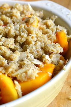 Peaches and almonds just go together so well in this quick crisp