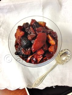 A Harmony of Flavors. Fall Fruit Compote. Made with quince, and dried fruits: apples, apricots, plums, figs and cherries. Cooked in Ruby Port, honey and spices, this was one teriffic side for Pheasant Alfredo.