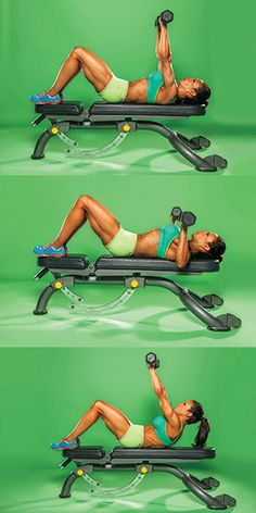 Firm and reshape your top half by doing this upper body exercise  UMBBELL PRESS WITH SCAPULAR PUNCH Works: chest, upper abs