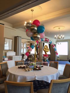 18th Birthday balloon decorations, created with assorted colours and gorgeous chrome gold & silver.