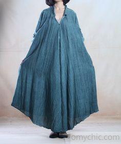 Green spring linen coat maxi dress causal caftan