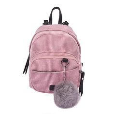 New Fashion Spring Women Backpacks Corduroy Simple Mini Rucksack Girls Casual  School Bag Ladies Shoulder Bag with Pink Plush Toy 48f11604b5809