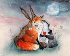Peace & Huggles - Contemporary Print of Original Painting, Charming Hare, Fox and Badger cuddling, watercolour print, A3 poster watercolour.