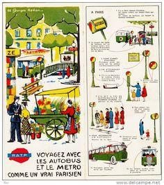 METRO BUS R.A.T.P. PARIS  publicité illustrée par  Georges  REDON 1956 prix actuel 15euro