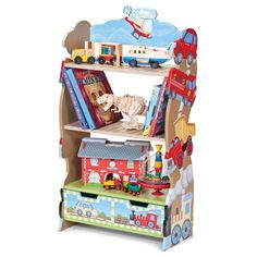 Transport bookcase adorned with cars, trains, trucks and more. This shaped and highly decorated bookcase put the 'fun' in 'functional storage'.