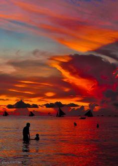 Unas vacaciones en la playa con calorcito tampoco estan mal :))) Sunset, Isla Boracay, Philippines