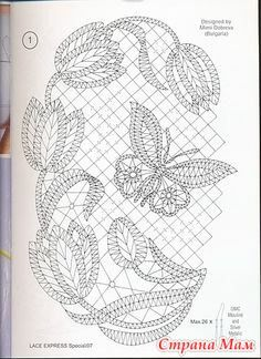 Lace Express et enkelt motiv til rejsekufferten Lace Express, tulips and butterfly chart I think I'd like this better without all the background mesh. It would be pretty mounted and framed. for carrickmacross lace Bobbin Lace Patterns, Crochet Stitches Patterns, Embroidery Patterns, Form Crochet, Crochet Motif, Crochet Lace, Bobbin Lacemaking, Lace Art, Cutwork Embroidery