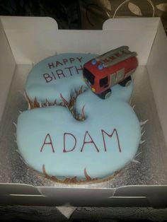 Number 3 fireman sam themed cake