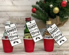 small gifts Best SHOT at a Merry Christmas - Fun Alcohol Gift Idea Small Christmas Gifts, Creative Christmas Gifts, Cheap Christmas, Very Merry Christmas, Handmade Christmas, Christmas Ideas, Christmas Things, Cheap Friend Christmas Gifts, Christmas Time